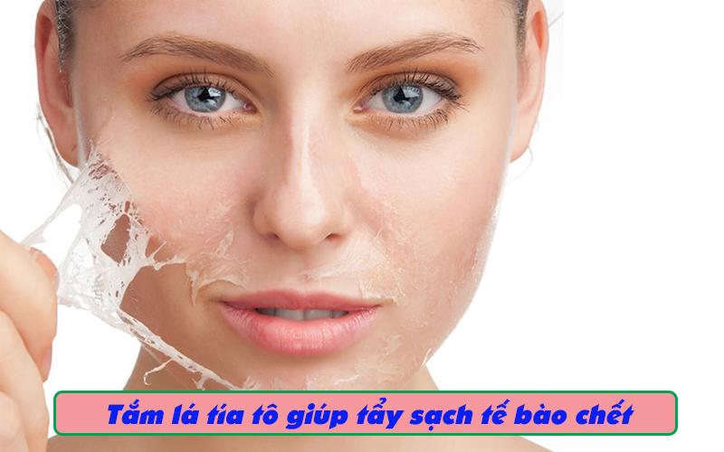 Tắm bằng lá tía tô giúp tẩy sạch tế bào chết